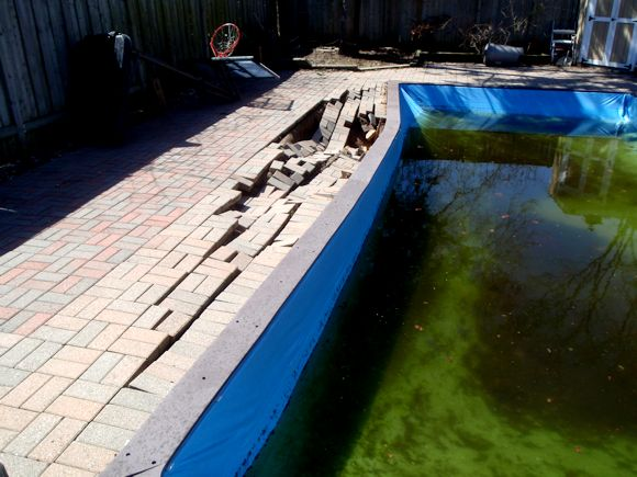 Collapsed Pool from Reinforced Concrete on Swimming Pools Project