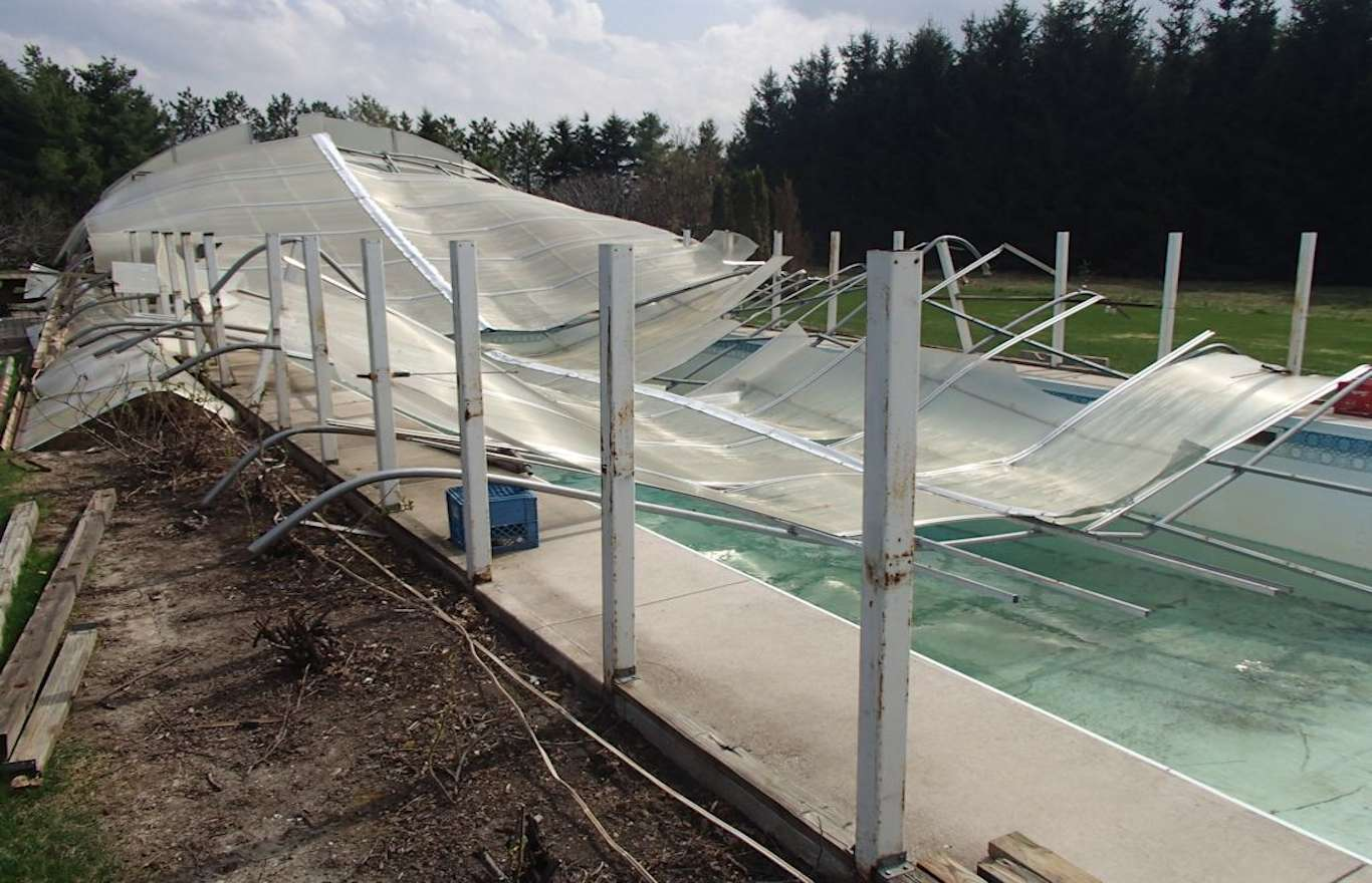 Covered Pool Roof Collapse