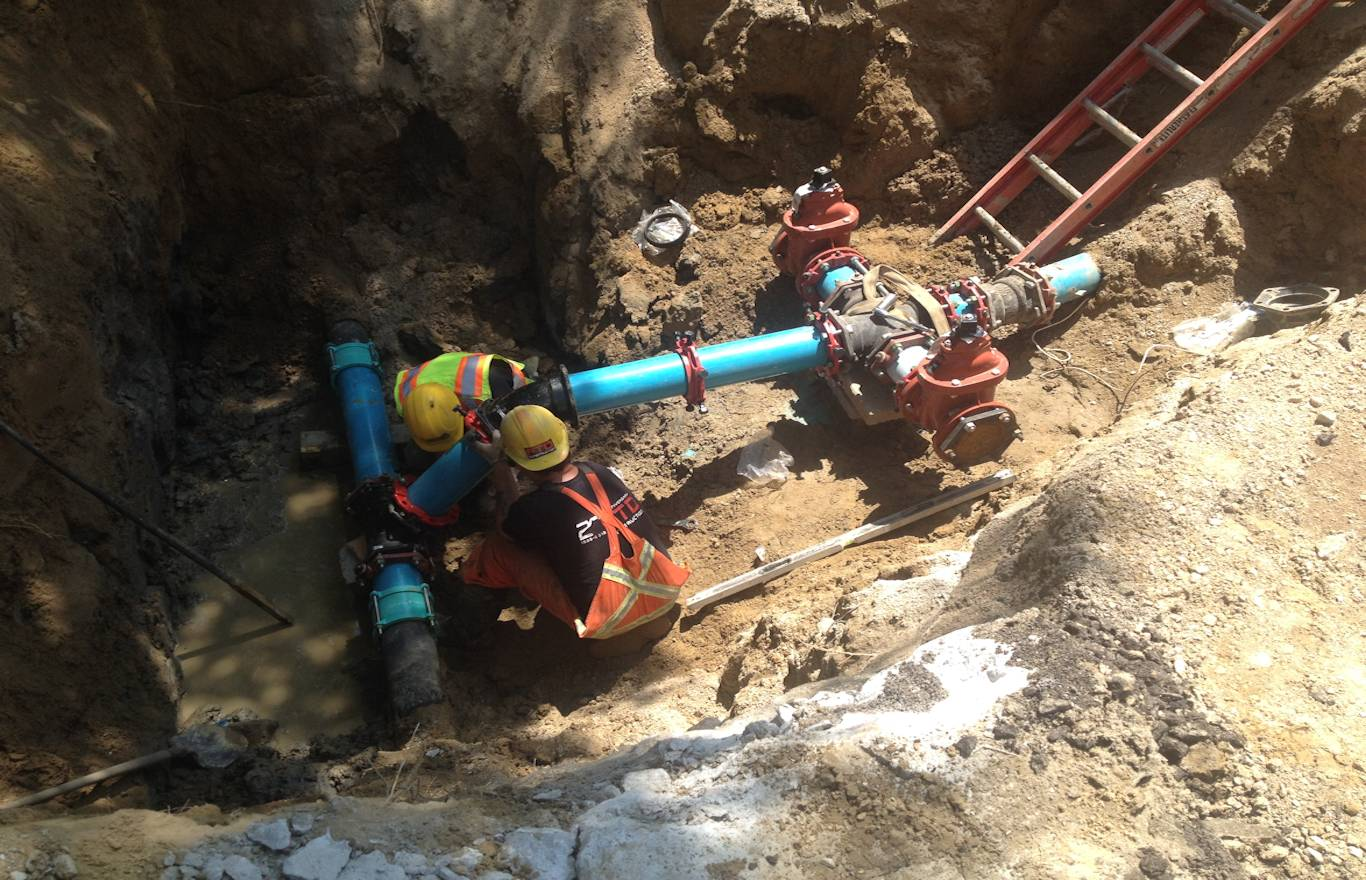New Domestic Waterway System Connection Being Installed